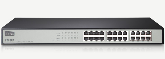 Switch Netis 24P 10/100/1000Mbps ST-3124 (Rack-mountable)